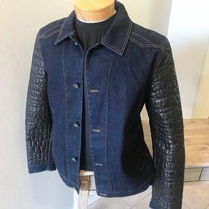 Roberto Cavalli Dark Denim Black Leather Jacket